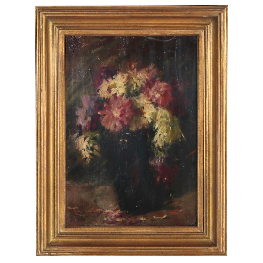 Floral Still Life Oil Painting, Late 19th to Early 20th Century