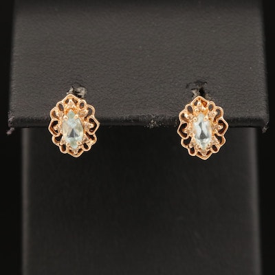 14K Topaz and Diamond Filigree Stud Earrings