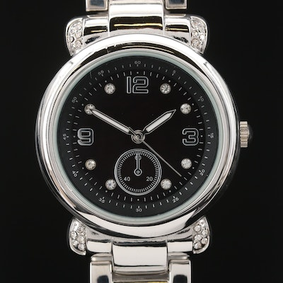 Silver Tone Crystal Accented Quartz Wristwatch