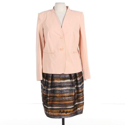 Lafayette 148 Blush Blazer with Skirt