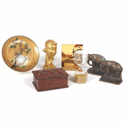 Bronze Elephant Bookends, Trinket Boxes and Other Office Accessories
