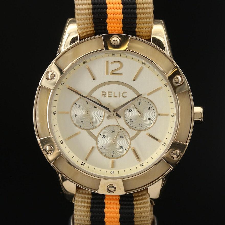 Relic Day Date Gold Tone Quartz Wristwatch