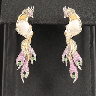 Sterling Silver Sapphire and Diopside Crested Bird Earrings