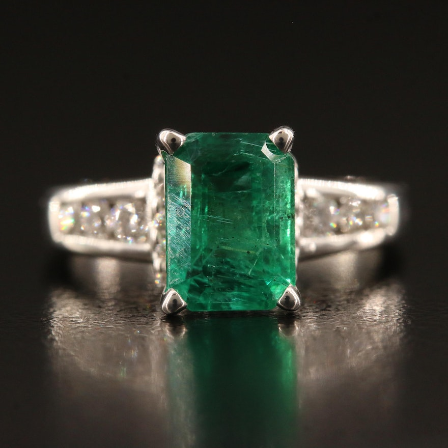 14K 1.82 CT Emerald and Diamond Ring with GIA Report