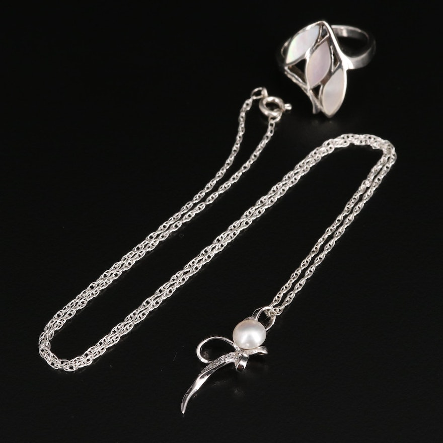 Sterling Mother of Pearl Ring with Pearl with Cubic Zirconia Pendant Necklace