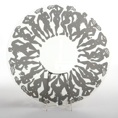 Printed Glass Centerpiece Bowl, Late 20th Century
