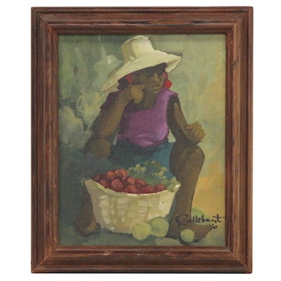 Oil Painting of Figure with Produce, 1980