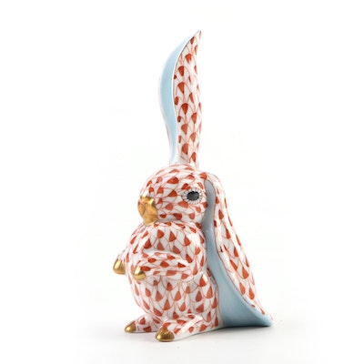 "Herend Rust Fishnet with Gold ""Rabbit with One Ear Up"" Porcelain Figurine"