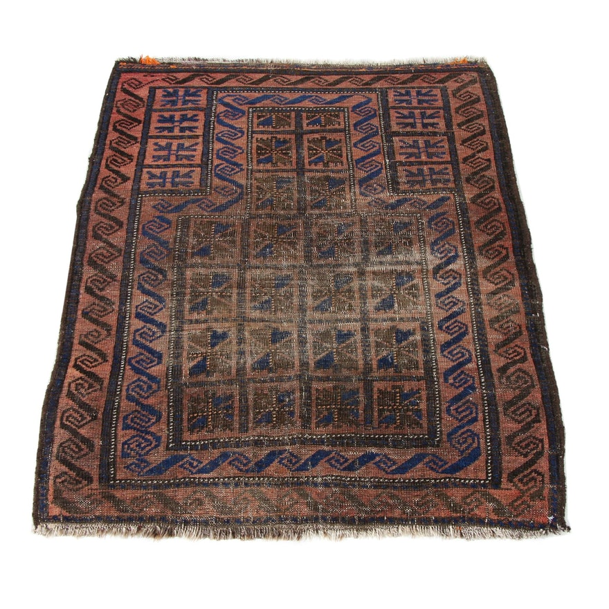 3'0 x 3'10 Hand-Knotted Persian Balouch Rug, 1920s