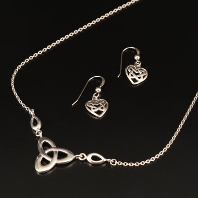 Kit Heath Sterling Silver Celtic Knot Necklace and Earrings
