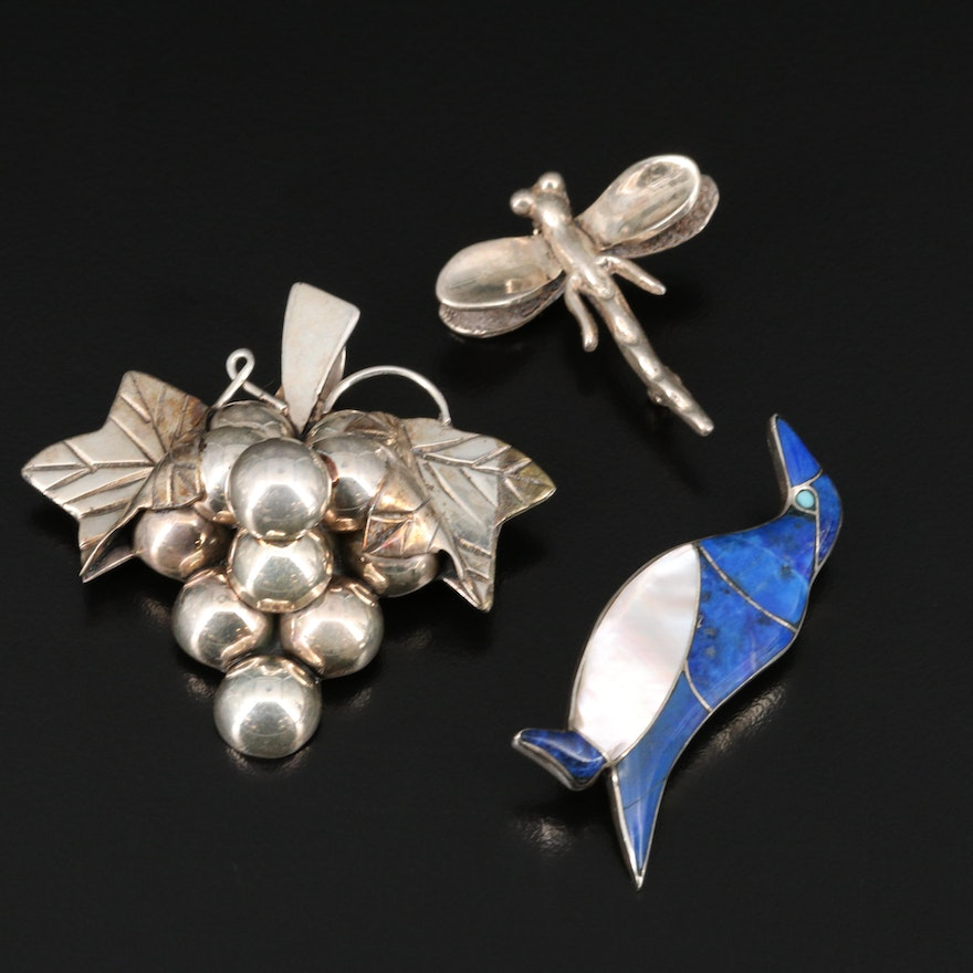 Sterling and 980 Silver Brooches Featuring Penguin and Dragonfly Brooches