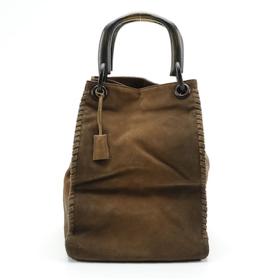 Gucci Whipstitch Brown Suede Tote with Wooden Handles