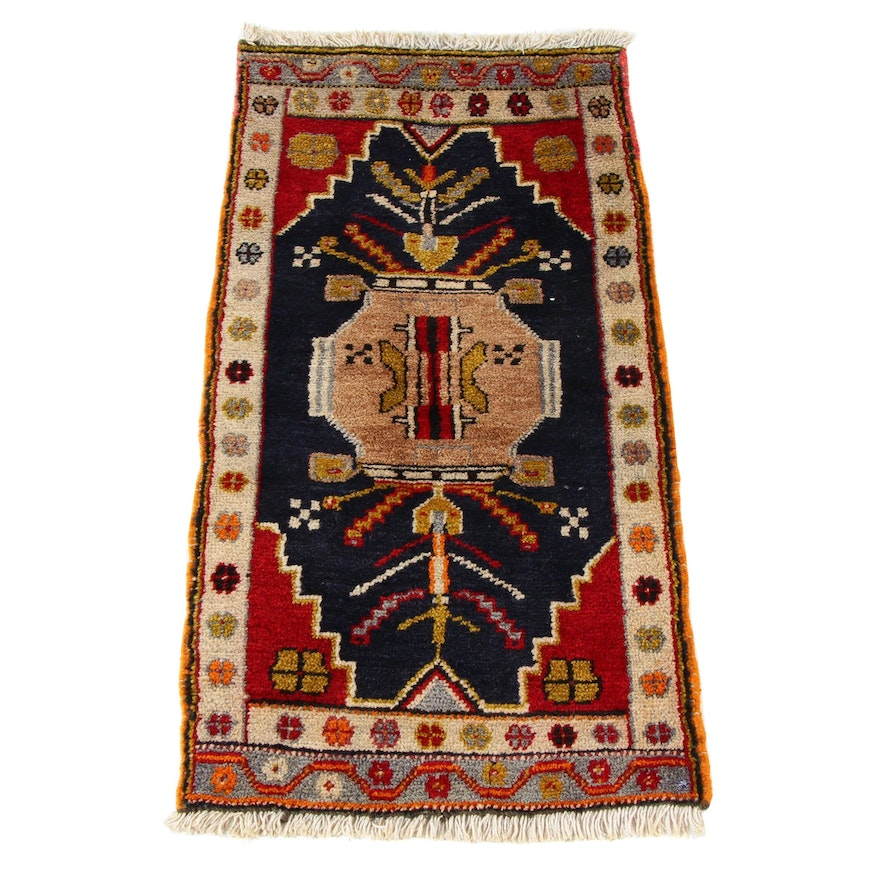1'7 x 3'2 Hand-Knotted Turkish Villiage Rug, 1930s