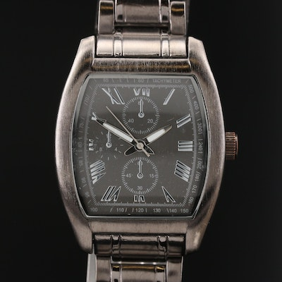 Gun Metal Tank Style Quartz Wristwatch
