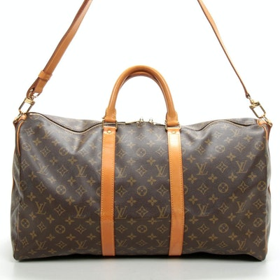 Louis Vuitton Keepall Bandouliere 50 in Monogram Canvas and Vachetta Leather