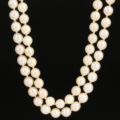 Vintage Double Strand of Pearls with 14K  Filigree Clasp