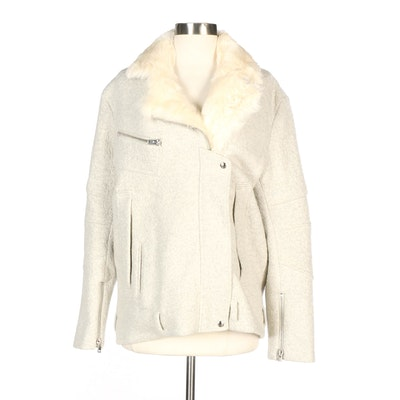 IRO Wool Blend Jacket with Lamb Fur Collar and Trim