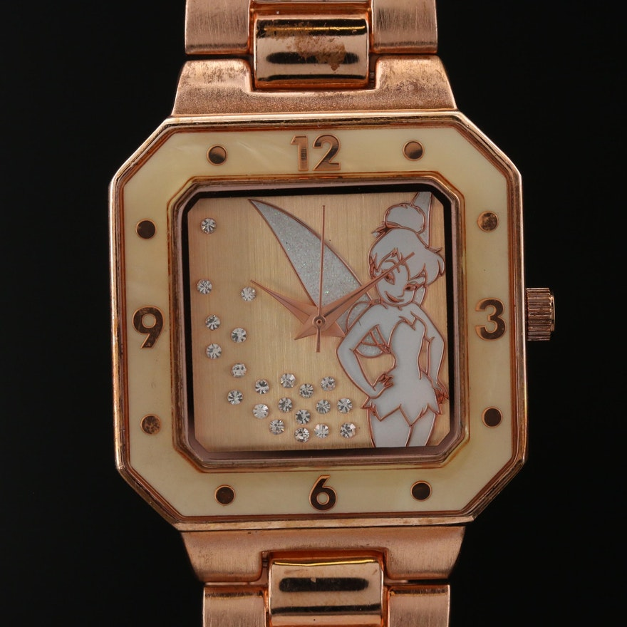 Disney Tinker Bell Gold Tone Quartz Wristwatch
