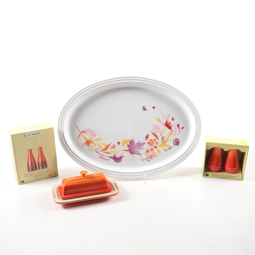 """Le Creuset """"Volcanic"""" Stoneware Shakers, Cruet Set, and Butter Dish with Tray"""