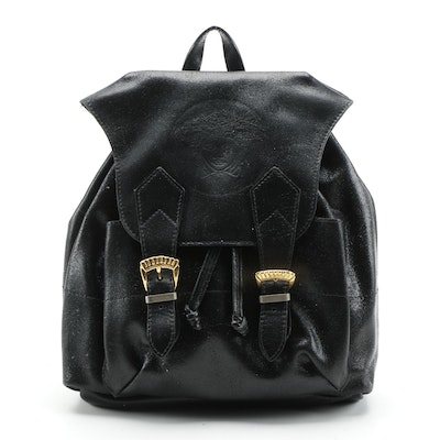 Gianni Versace Couture Black Leather Backpack Purse