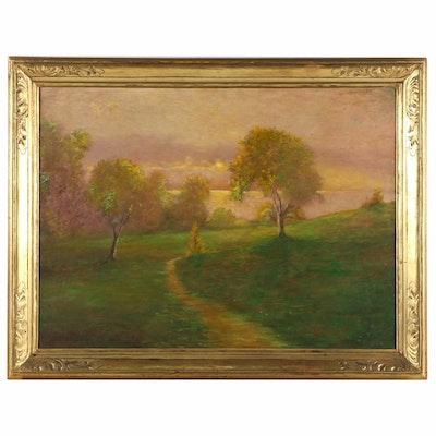 Hugh Huntington Howard Oil Painting of Country Path at Sunrise
