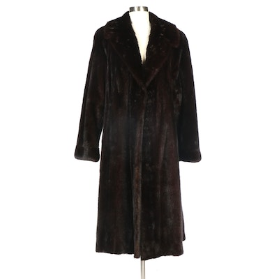 Dark Mahogany Mink Fur Coat with Banded Cuffs from Hopper Furs