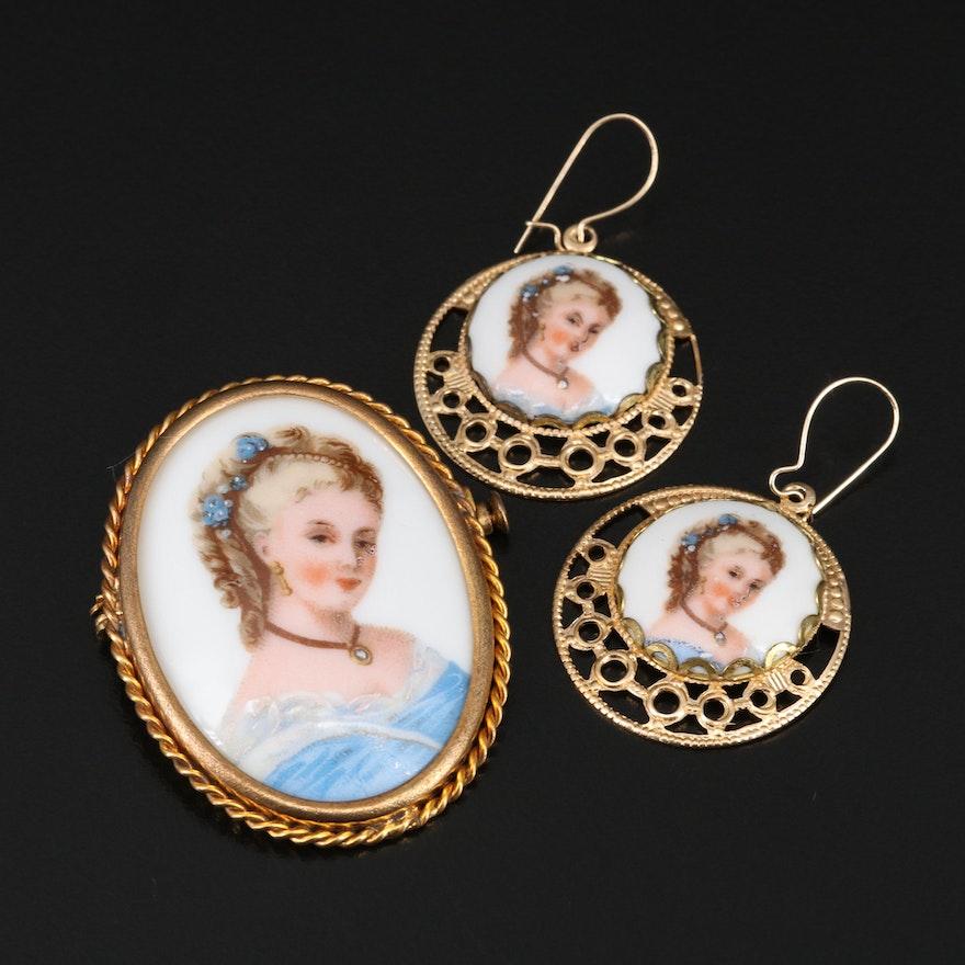 Vintage French Limoges Porcelain Brooch and Earrings Set