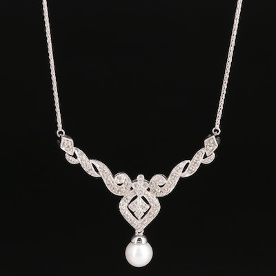 10K Pearl and Diamond Necklace with Milgrain Detailing