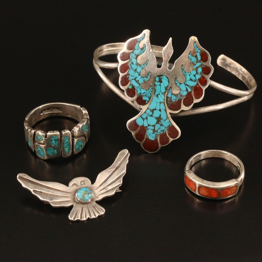 Southwestern Style Sterling Jewelry with Turquoise and Chip Stone in Resin
