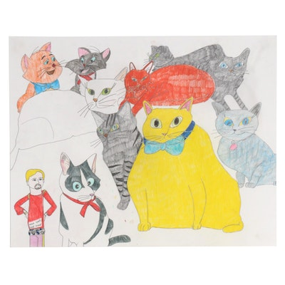 Sean Regis Traynor Colored Pencil Drawing of Clutter of Cats, 21st Century