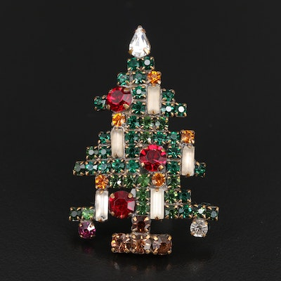 Vintage Weiss Rhinestone Christmas Tree Brooch