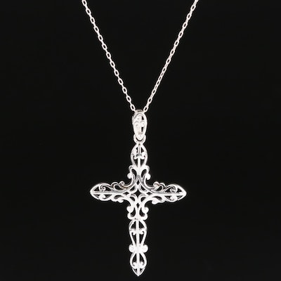 Sterling Openwork Cross Pendant Necklace