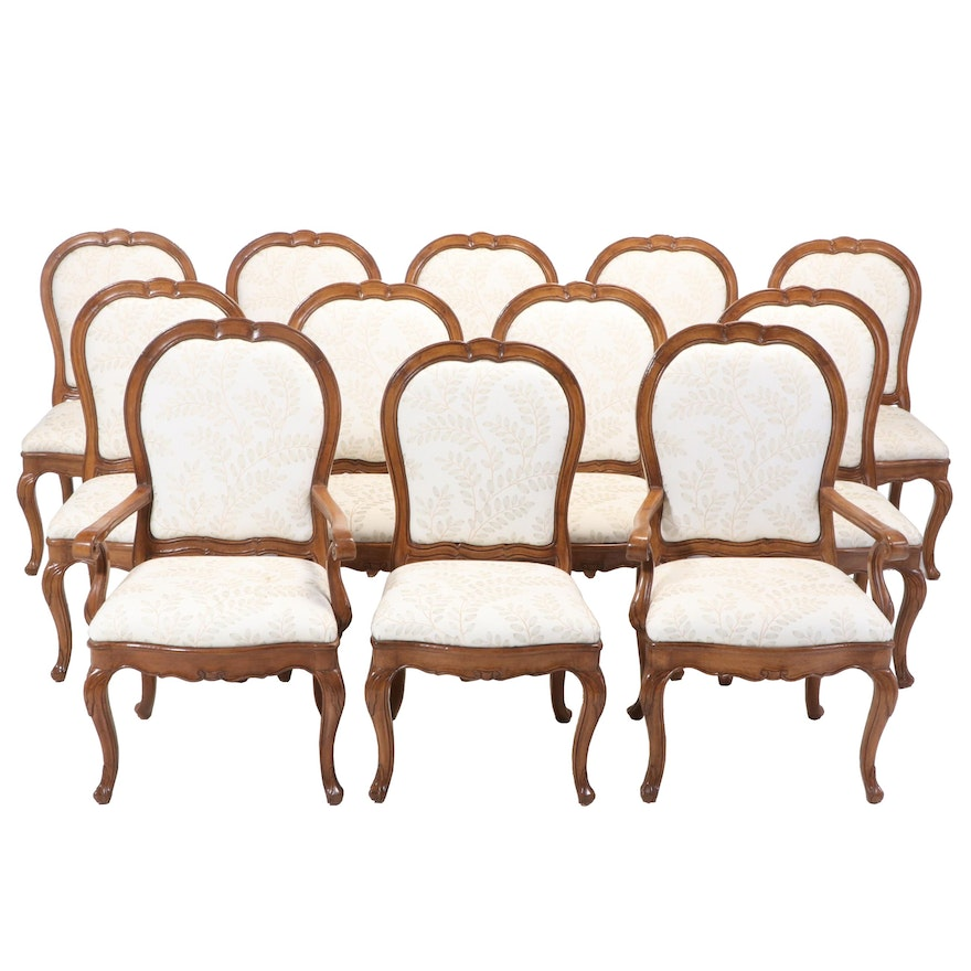 Twelve French Provincial Style Dining Chairs with Embroidered Upholstery