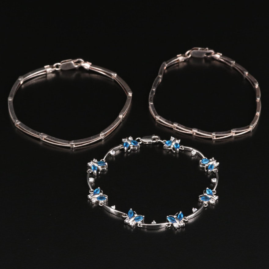 Sterling Bracelets Featuring Glass and Cubic Zirconia Butterfly Bracelet
