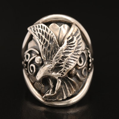 Signed Western Sterling Eagle Ring