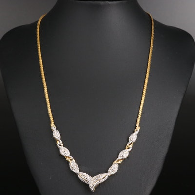 Diamond Fancy Link Chevron Necklace