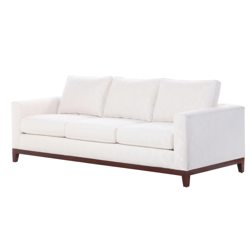 Contemporary Upholstered Linen Three-Seat Wood Sofa
