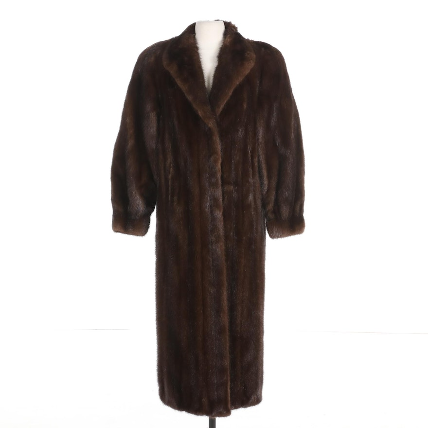 Mahogany Mink Fur Coat with Banded Cuffs