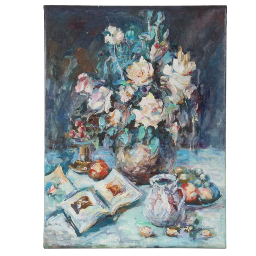 Floral Still Life Oil Painting with Fruit and Pitcher, Mid to Late 20th Century