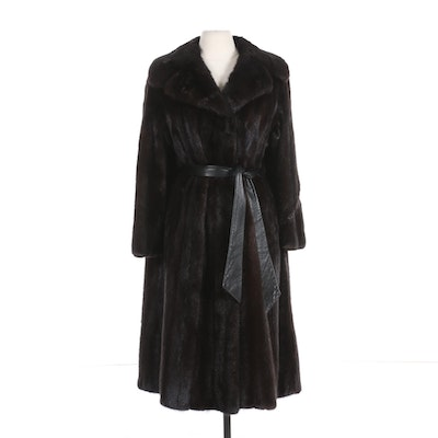 Mahogany Mink Fur Coat with Leather Tie Sash with Wide Notched Collar