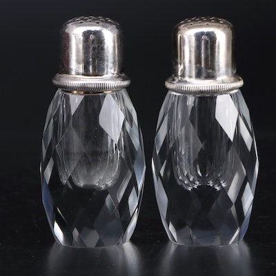 Faceted Crystal and Silver Plate Pepper Mill and Shaker in Presentation Box