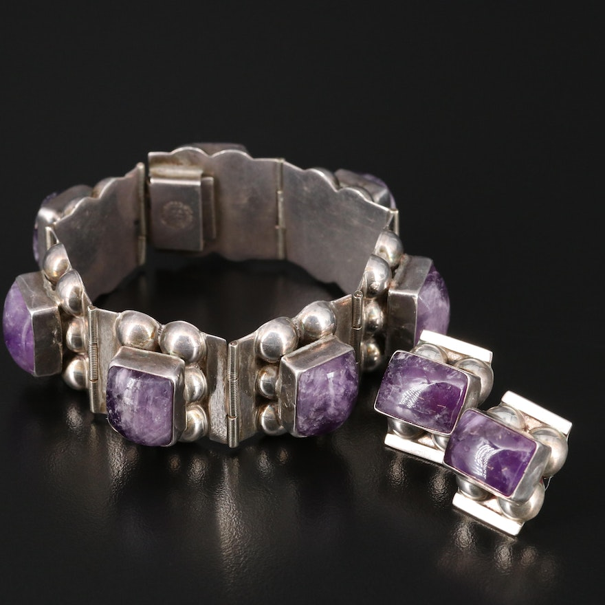 Sterling Silver Amethyst Matching Link Bracelets and Earring Set