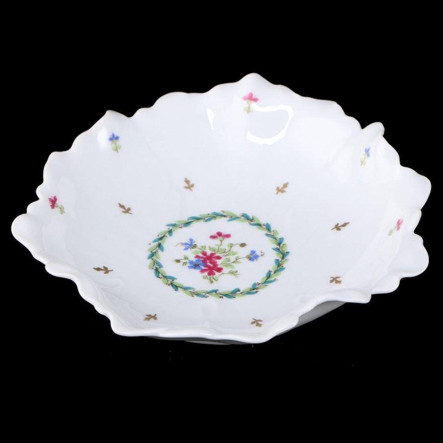 Haviland Floral Porcelain Ruffled Edge Centerpiece Bowl