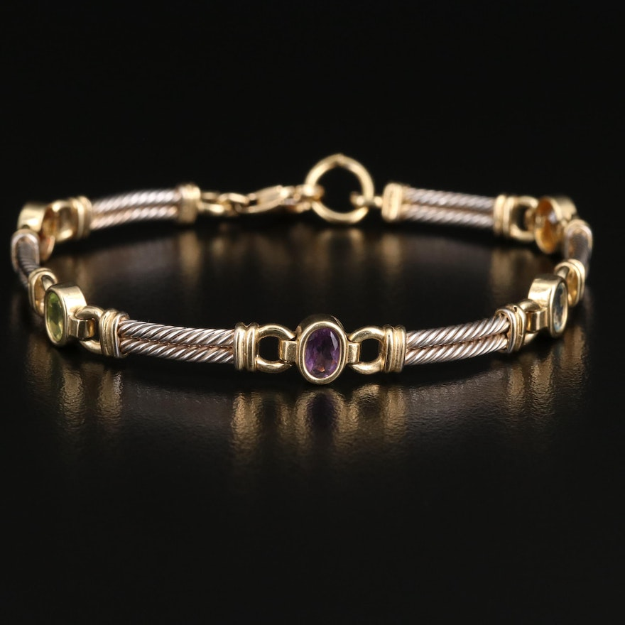 14K Citrine, Topaz and Gemstone Cable Link Bracelet