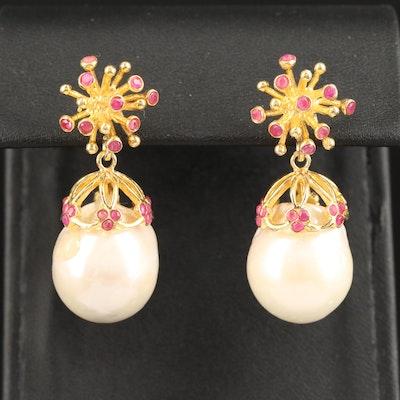 Sterling Pearl and Ruby Drop Earrings