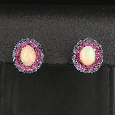 Sterling Opal, Sapphire and Ruby Dangle Earrings