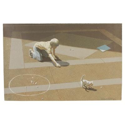 "Robert Vickrey Serigraph ""Marbles,"" Circa 1980"