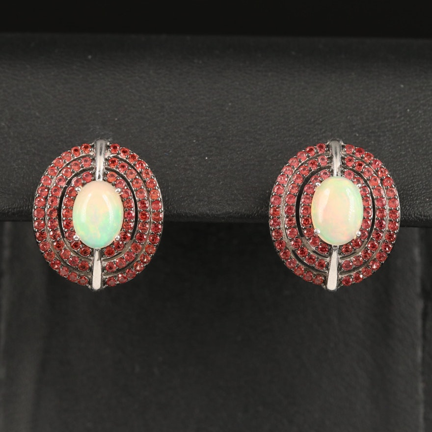 Sterling Silver Sapphire and Opal Earrings