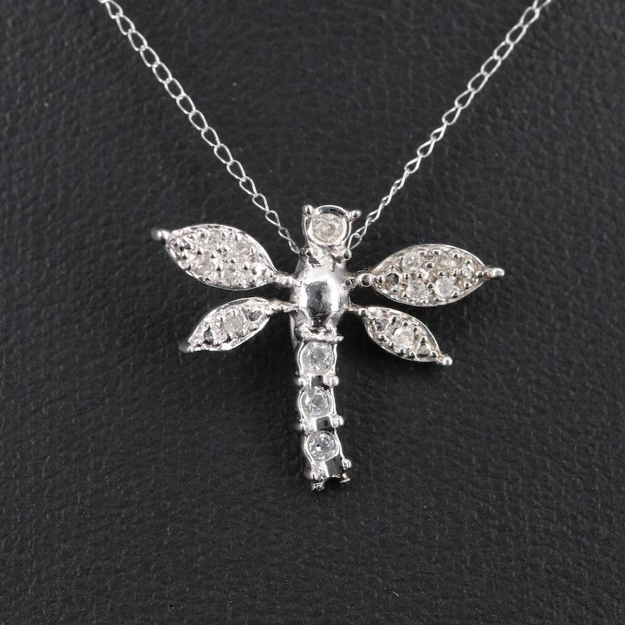 14K Diamond Dragonfly Necklace