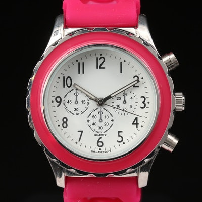 Hot Pink Quartz Fashion Wristwatch